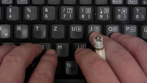 Smoking While Typing Footage