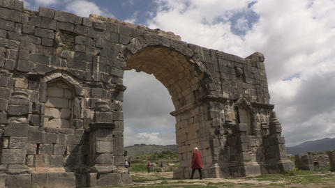 FT 0015 Moulay Idriss Morocco Roman Ruins Arch 24 Footage
