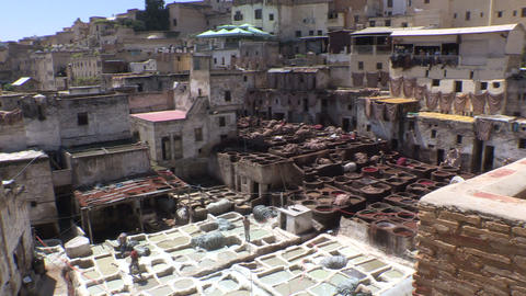 Tanneries of Fes Morocco - FT0027 Footage