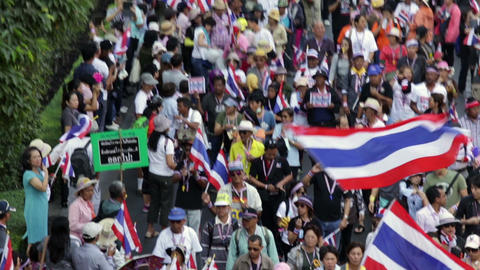 Thai People Protest In Bangkok stock footage