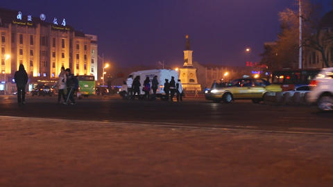 Harbin Night Street Traffic 02 Footage