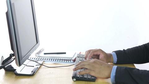 Businessman typing keyboard Footage