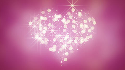glares and particles heart shape loop background Animation