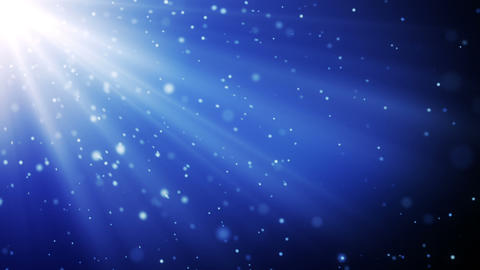 blue particles in light beams loopable background Animation