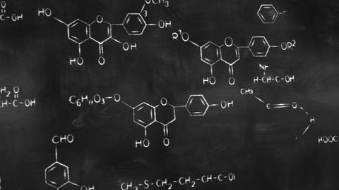 chemical formulas on chalkboard panning loop Animation