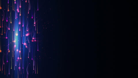 falling colorful stars with light tracks loop back Animation