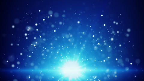 blue light and flying particles loop background Animation