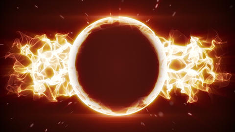 fiery circle and fractal form loopable background Animation