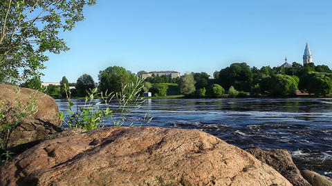 Fast Flowing River Narva Footage
