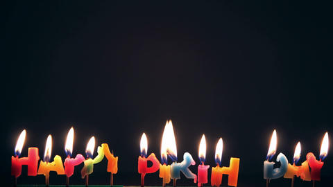 Time Lapse Bruning Happy Birthday Candle stock footage