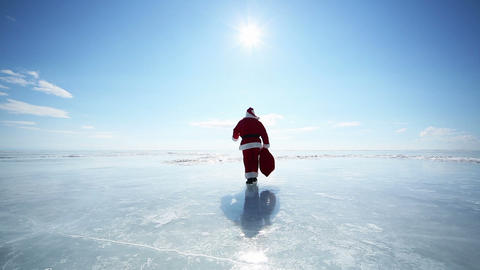 Santa Goes Into the Distance Footage
