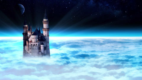 Castle Tower In The Sky stock footage