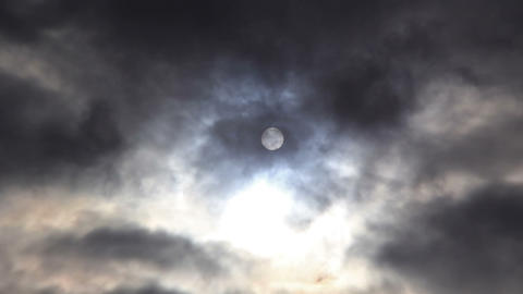 Disk of the sun above the clouds Footage