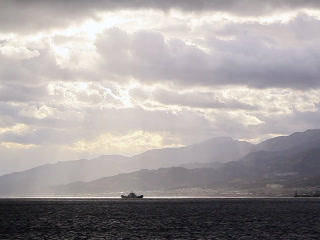 Ship In The Strait Of Messina. Italy. 320x240 stock footage