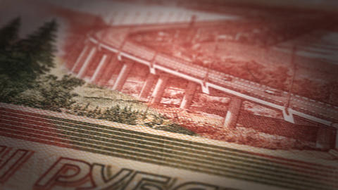 Russian Ruble Close-up Animation