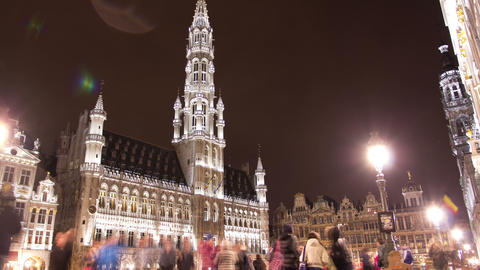 The Grand Place In Rain, The Focal Point Of Brusse stock footage