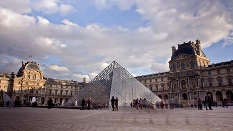 Louvre Museum. Paris, France. Time Lapse Stock Video Footage