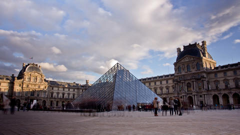 Louvre Museum. Paris, France. Time Lapse Footage
