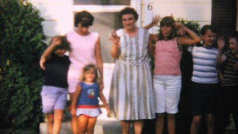 Children Pose For Picture With Grandma 1967 8mm stock footage