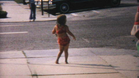 Little Girl Dancing In Her Bathing Suit 1967 stock footage