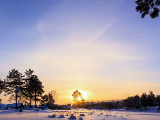 Sunrise over the farmhouses. Winter. Time Lapse. 3 Footage