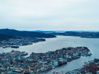 Sunset Over The Fjords. Bergen, Norway. TimeLapse. stock footage