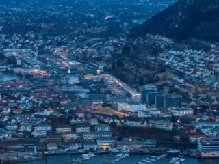 Sunset over the city. Bergen, Norway. Time Lapse.  Footage
