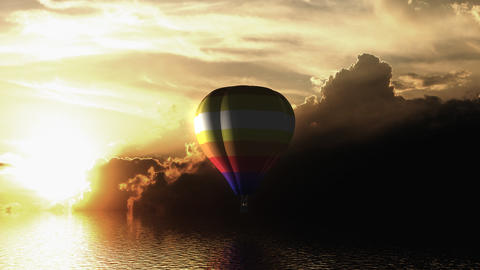 Hot air balloon fly over the sea Animation