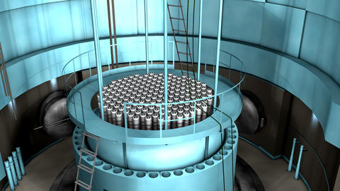 Power plant, Nuclear reactor interior view Animation