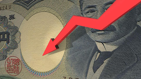 Japanese Yen currency value down animation Animation