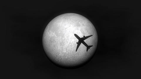 Airplane fly by moon Animation