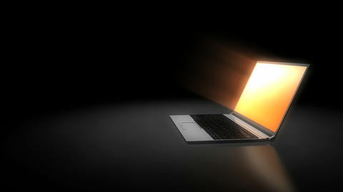 Laptop screen glowing CG動画