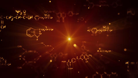 flying shiny chemical formulas loop Animation
