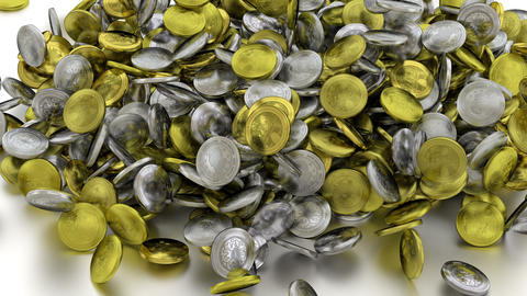 Gold And Silver Coins stock footage