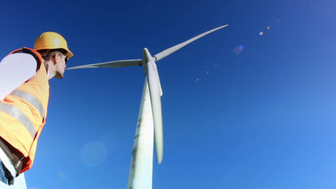 Wind Turbine Worker stock footage