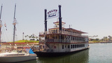 Grand Romance Riverboat Paddlewheeler Boat stock footage