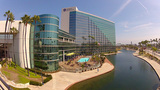Hyatt Regency Hotel & Lagoon Park- Long Beach, CA stock footage