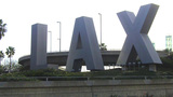 LAX Airport Entrance Sculpture Sign Daytime stock footage