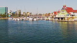 Rainbow Harbor From Tour Boat- Long Beach CA stock footage