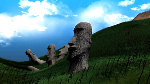 Easter Island Statues stock footage
