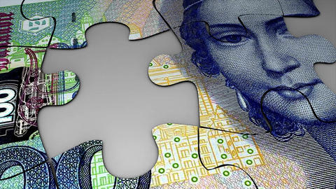 Puzzle Deutsche Mark stock footage