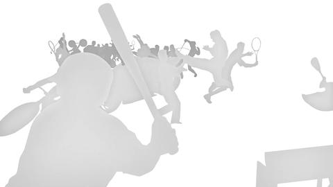 White silhouette sports Animation