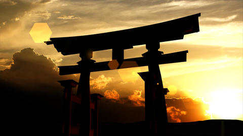 Japanese Torii Gate Sunset stock footage