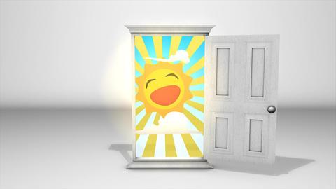 White door and sunrise Animation