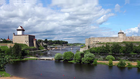 view fortress of Narva and Ivangorod fortress Footage