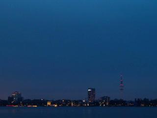 Quay Hamburg. Night fell. Time Lapse. 320x240 Footage