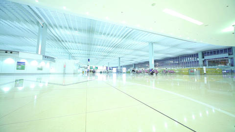 Airport Terminal in Hong Kong. Time Lapse Footage