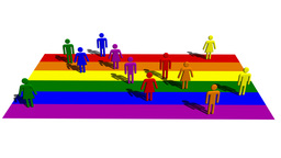 Rainbow Flag With Human Symbols stock footage
