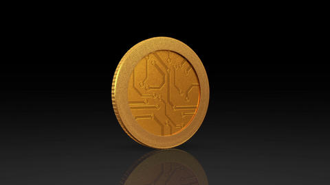 digital currency gold coin dark Animation