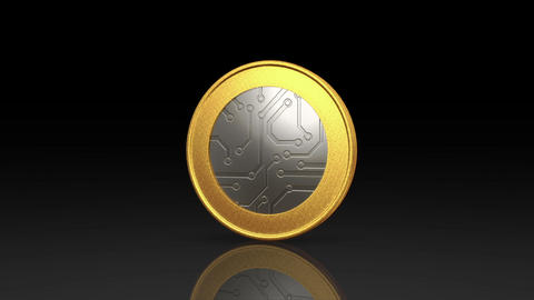 digital currency silver gold coin dark Animation